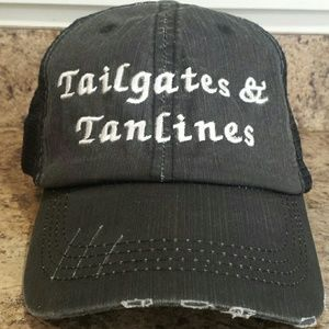 "Accessories - NEW! ""Tailgates & Tanlines"" distressed trucker hat"